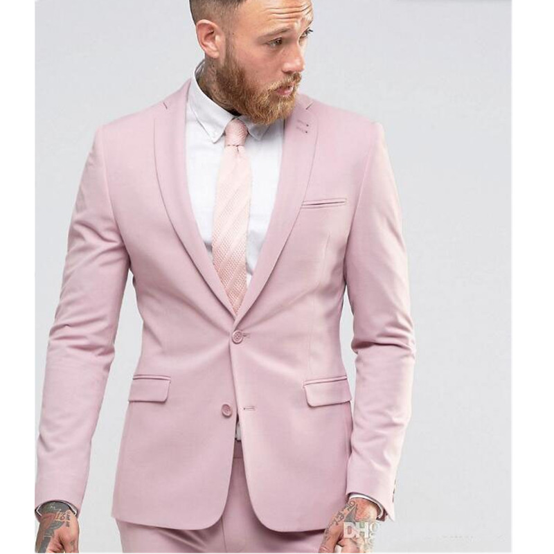 men's suits Custom Made Pink Slim Fit Tuxedo Men Wedding Suits Groom Formal Business Suits Party Suits Blazer+Pants
