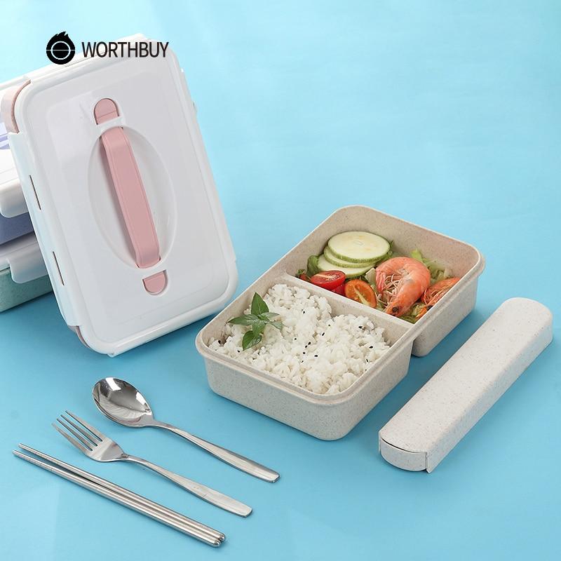 WORTHBUY Giapponese di Plastica Bento Box Portatile Per Bambini Lunch Box A Microonde Con Scomparti BPA Libero di Paglia di Grano Cibo Container Box