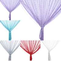 1 2m Encryption Flash Silver String Curtain Home Textile Products Weeding Door Window Decoration Cystal