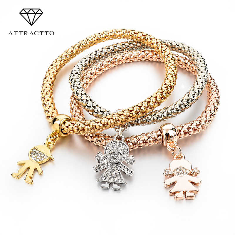 ATTRACTTO New Hot Gold Bracelets Bangles 3pcs Multilayer Crystal Charm Women Bracelet Famous Brand Jewellery Plusera SBR140324