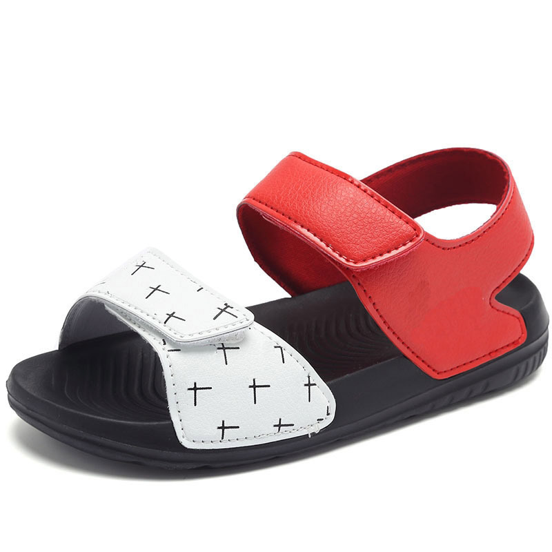 2018 New Summer Children Sandals Boys Open Toe Beach Shoes Girls Casual Sports Sandals Flat Slides Soft Leather Match Color