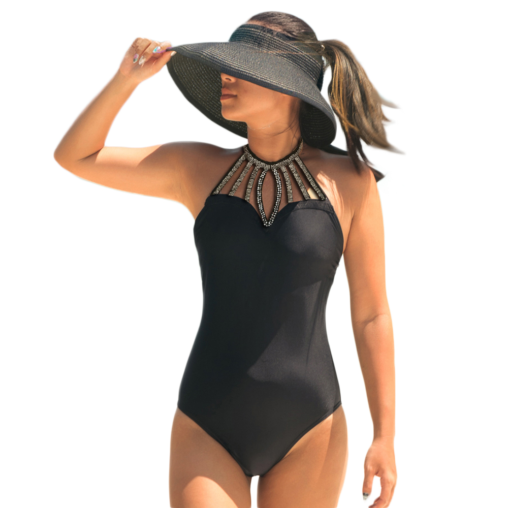 Buy 2018 New High Leg Swimwear Women One Piece Swimsuit Sexy Halter Lace-up Swim Wear Bling Solid Beach Bathing Suits Monokini
