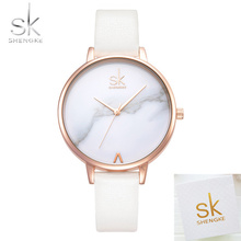 2018 New Top Brand SK Fashion Ladies Watches Leather Famale Quartz Watch Women Casual Dress Wristwatch Reloj Mujer Marble Dial dalishi brand ladies ceramic watch women fashion casual quart wristwatch women bracelet dress watch famale clock reloj hombre
