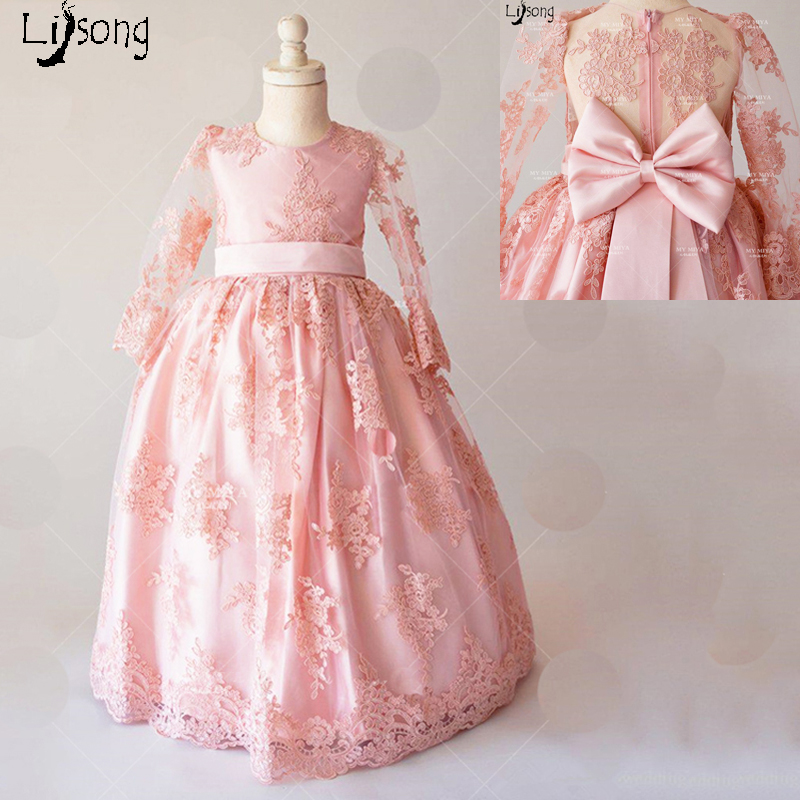 Fashion dusty pink appliques lace back bow lovely flower girl dress fashion dusty pink appliques lace back bow lovely flower girl dress custom made little baby floor length chic formal maxi gowns mightylinksfo
