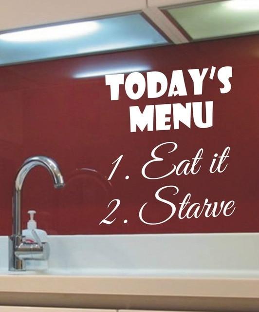 todays menu 1.take it 2.starve funny kitchen wall art sticker wall