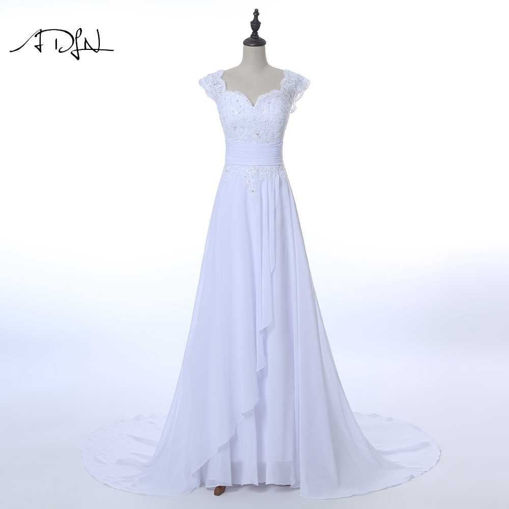 ADLN Elegant Chiffon Wedding Dresses with Appliques White/Ivory Lace-up Back Vestidos de Novia Court Train Bridal Gown