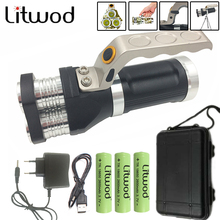 Litwod Z20 LED Flashlight torch 3 PCS XM-L T6 Rechargeable Portable Light 6000LM with function Power Bank For Phone Searchlight