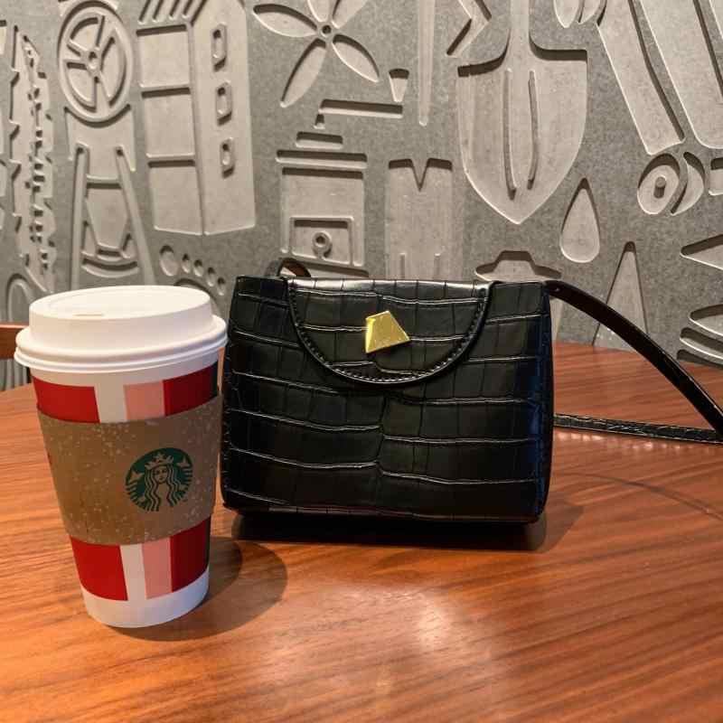 Bolsos De Mujer 2018 nuevo patrón de cocodrilo pequeño bolso cuadrado Trapezoidal de Color sólido bandolera Bolsa femenina