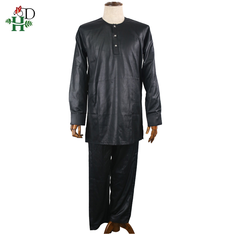 H amp D 2019 african dashiki men clothes robe shirt pant 3 pcs suit african men 39 s agbada embroidery pattern black clothing PH8018 in Africa Clothing from Novelty amp Special Use