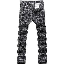 Personalized fashion autumn new designer street jeans mens pants print slim straight trousers man feet pants men's black winter