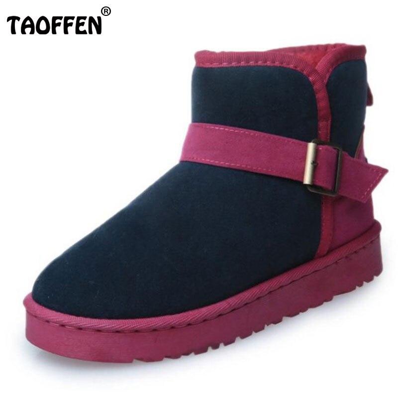 TAOFFEN Women Mid Calf Boots Metal Buckle Warm Shoes Women With Thick Fur Snow Botas Winter Boot Women Footwear Size 35-39