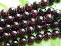 Envío libre (2 hilos/sistema) natural de 10mm rojo granate granos flojos redondos lisos de piedra preciosa