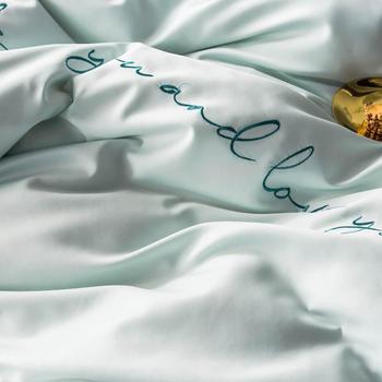 Простой мятный темно-зеленый однотонный Комплект постельного белья из искусственного шелка с вышивкой королевского размера, 2019