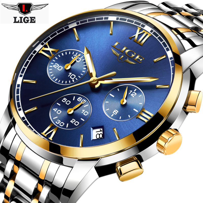 New LIGE Watches Men Luxury Brand Fashion Men's Sports Quartz Watch Man Waterproof Full Steel Gold Wrist Watch Relogio Masculino ybotti luxury brand men stainless steel gold watch men s quartz clock man sports fashion dress wrist watches relogio masculino
