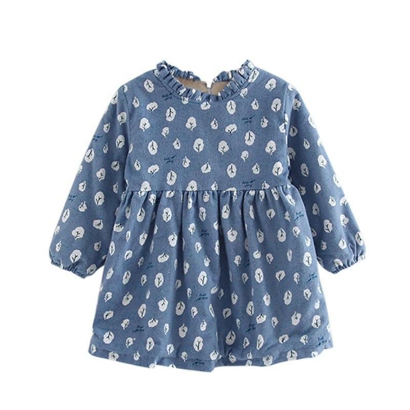 New Winter Cute Toddler Baby Girl Winter Long Sleeve Thick Dress Warm Fleece Lined Princess Dress Children Clothing