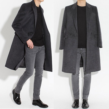 S-3XL!!!  The new south Korean version of men's long woollen coat, double-sided cashmere trim and thick coat