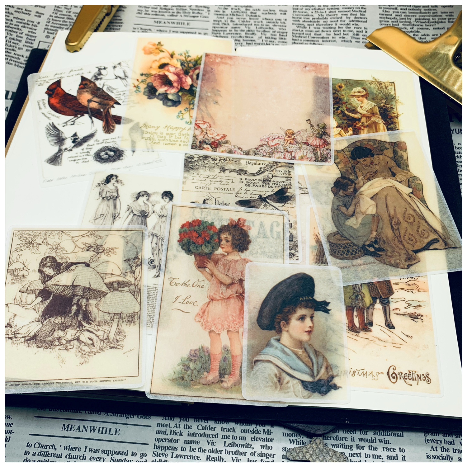 12pcs Hand Drawing Watercolor Retro Handbook Material  Washi Paper Sticker Person Used Book Pages TN