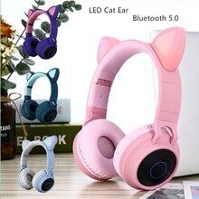 새로운 도착 LED 고양이 귀 소음 취소 헤드폰 블루투스 5.0 젊은 사람들 아이 헤드셋 지원 TF 카드 3.5mm 플러그 마이크