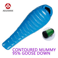 AEGISMAX G Series Sleeping Bag 95% White Goose Down Mummy Camping Cold Winter Ultralight Baffle Design Splicing Lengthened