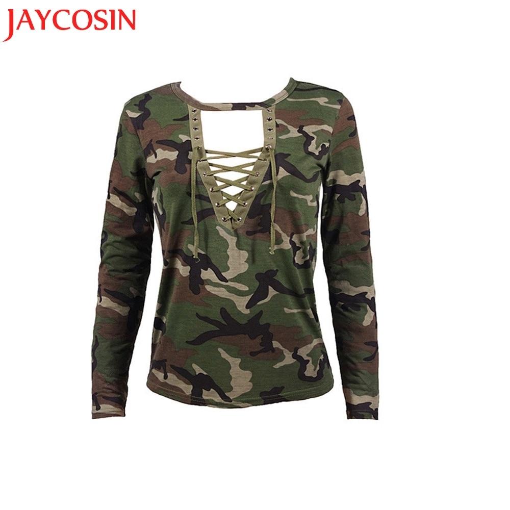 SIF Hot! Women Shirts New Fashion Womes Long Sleeve Shirt V-Neck Slim Casual Blusas Camouflage Print Tops Drop Shipping 805