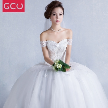 Luxury Ball Gown Wedding Dresses Sweetheart Appliques Wedding Gowns Lace-up Back Floor Length Tulle Bridal Gown trouwjurk