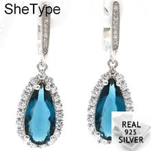 Romantic 8.0g Drop Shape Dark London Blue Topa White Cubic Zirconia Gift For Girls 925 Solid Sterling Silver Earrings 37x12mm