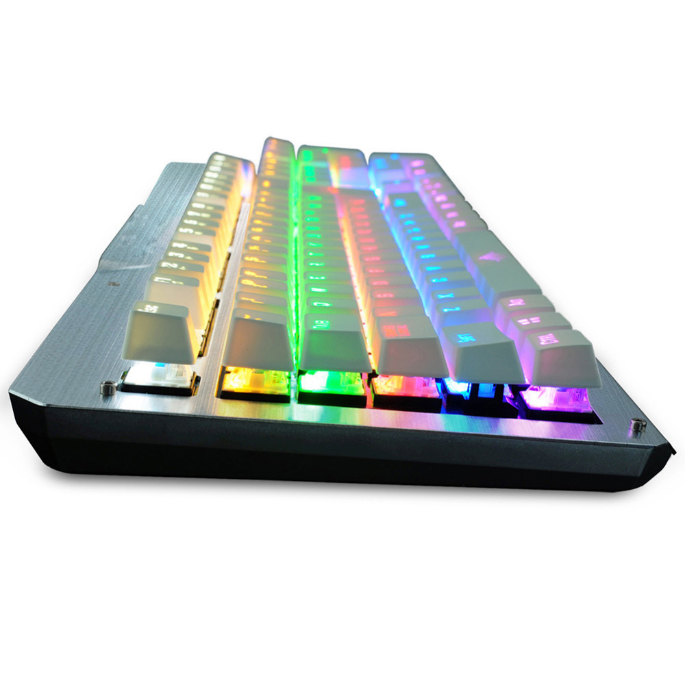 Witsp@d Metal 104 Keys Wired Mechanical Keyboard with Blue Switches Gaming Led Backlit Keyboard for Gamer rainbow gaming backlight keyboard 87 keys colorful mechanical keyboard with blue black switches desktop for pc laptop