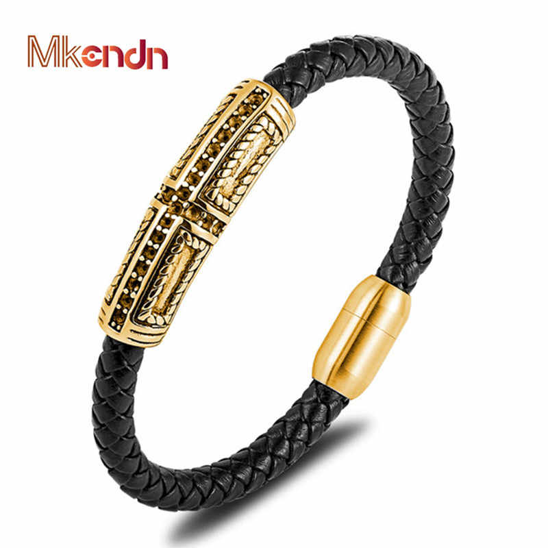 MKENDN Fashion Genuine Braid Leather Bracelet for Men Women Jewelry Punk Stainless Steel Bangle Magnetic Clasp Gold Beads