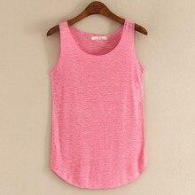 Novedad de verano de primavera, camisetas sin mangas de cuello redondo para mujer, Camiseta holgada, camiseta sin mangas para mujer