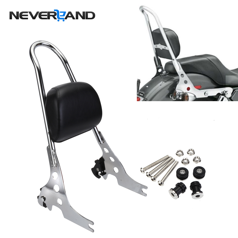 Neverland Motorbike Passenger Backrest Pad Black Silver Metal Sissy Bar Cushion For Harley Iron Sportster XL1200 883 D25 black motorcycle short passenger backrest bracket sissy bar case for harley sportster iron 883 1200 xl883 xl1200