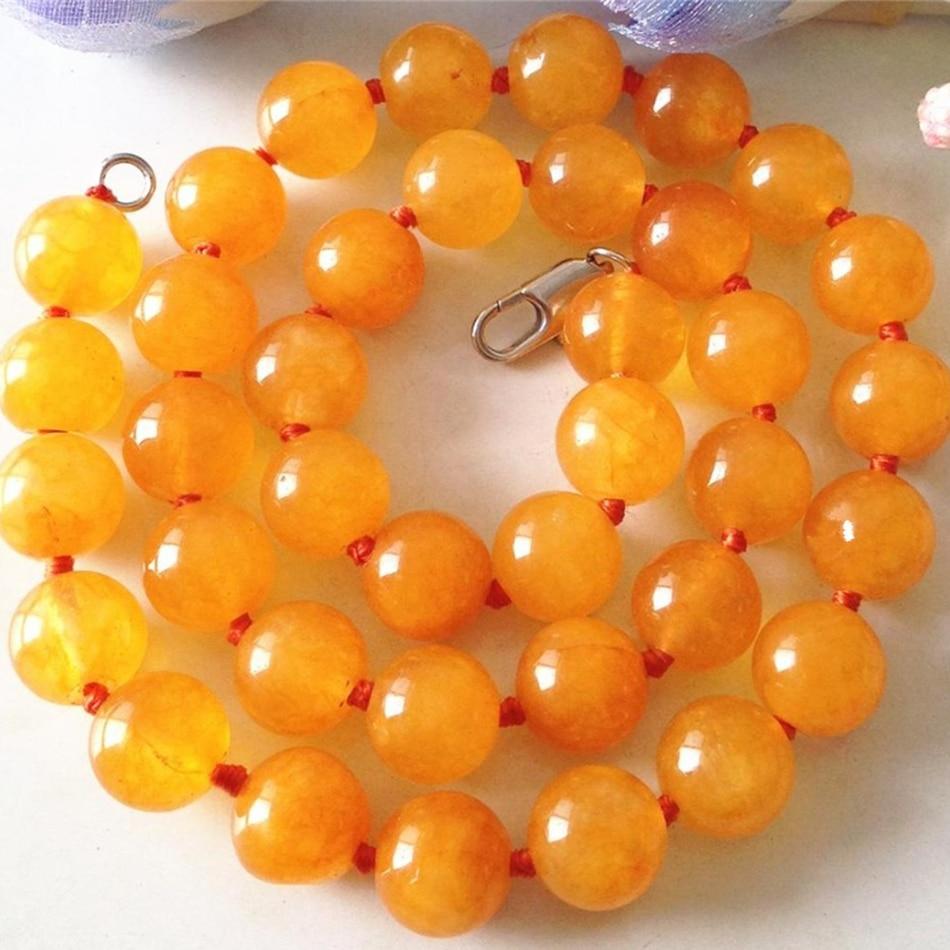ᗜ LjഃAmarillo Calcedonia Jade piedra semipreciosa 10mm granos ...