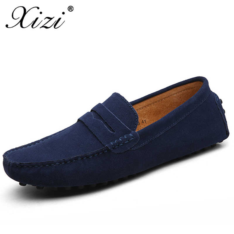 07123c340dd Xizi Summer Men Casual Shoes Fashion Men Sneakers Loafers Genuine Leather  Shoes Slip on Men s Flats