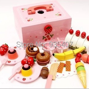 Wooden Sweet Princess Strawberry Cake honestly see wood girl play house toys,Baby toys юбка strawberry witch lolita sk