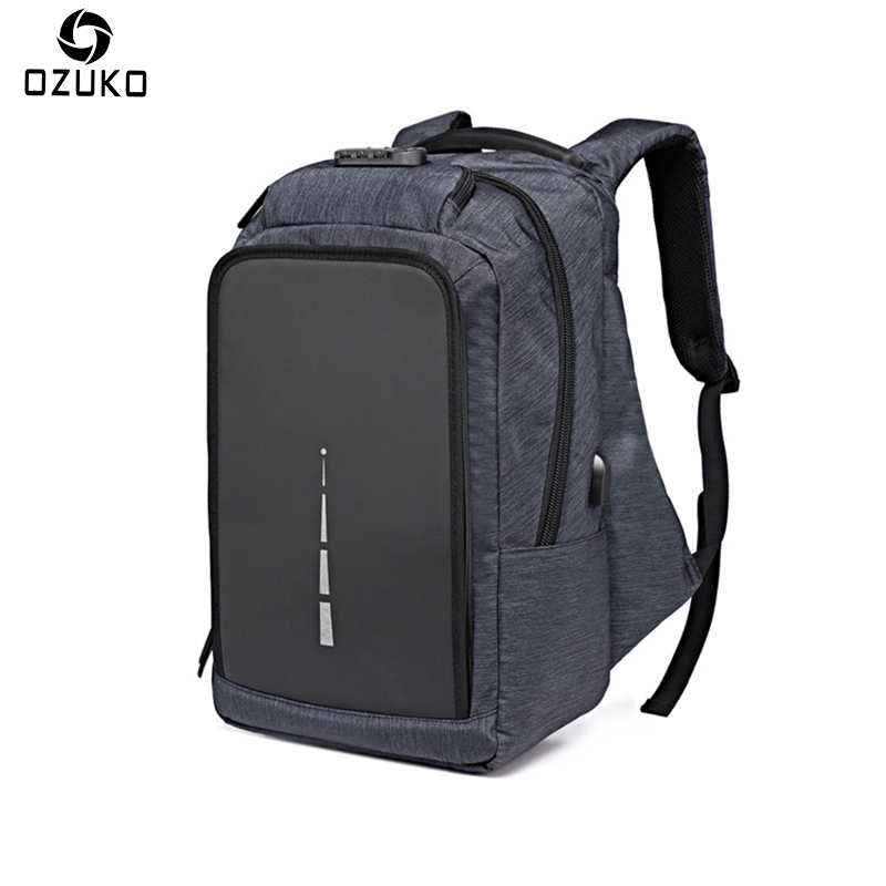 OZUKO Oxford Mens Backpack Anti-thief USB Charging 15.6inch Laptop Backpack Mochila Multi-functional Casual Computer School Bag