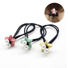 Multicolor Pentagram Hair Tie Small Pearls High Elastics Bands For Girls  Women Ponytail Fashion Accessories Rope