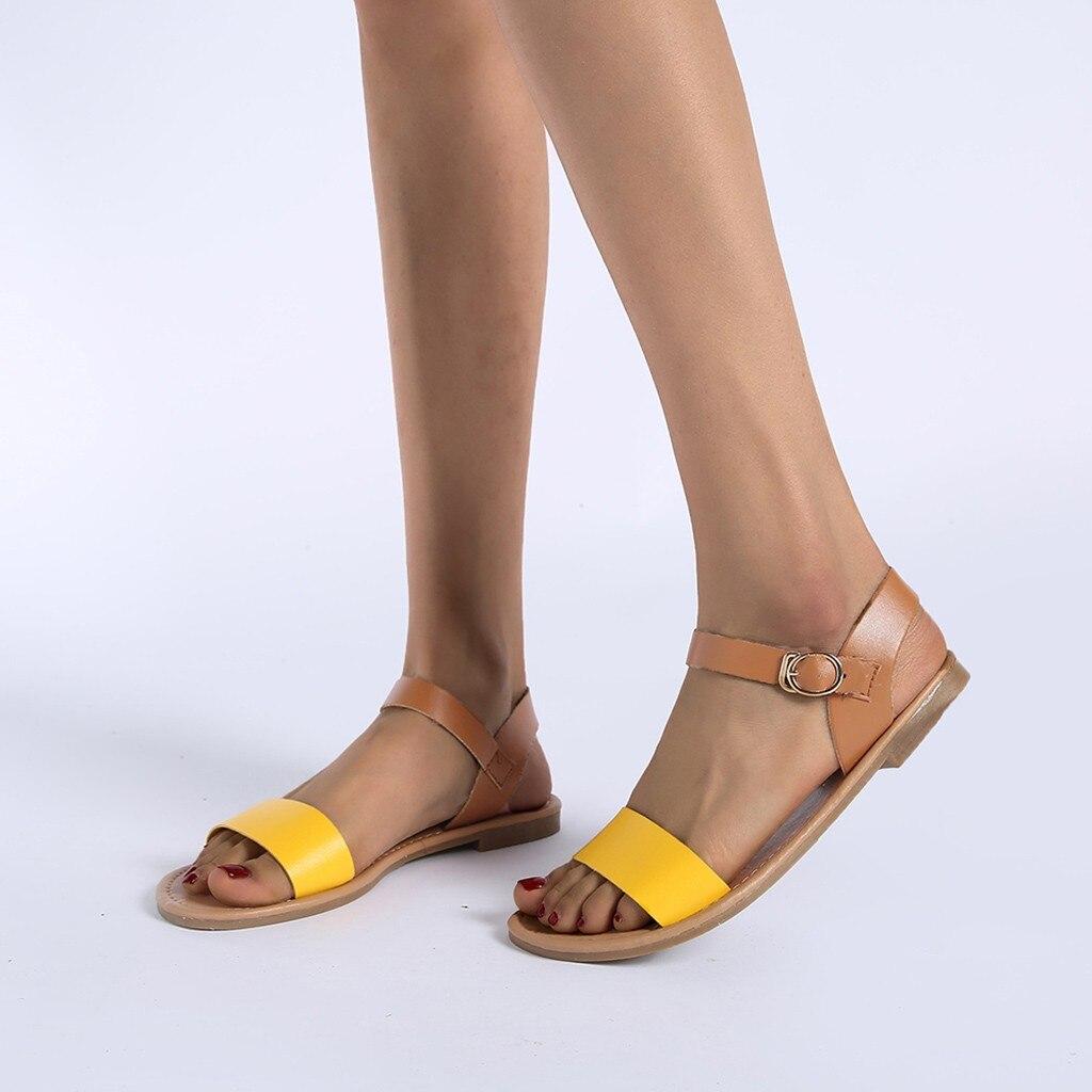 HTB1fXdvQpzqK1RjSZFoq6zfcXXaM SAGACE Women's Sandals Solid Color PU Leather Sandals Women Fashion Style Flat Summer Women Shoes Women Shoes 2019 Sandals 41018