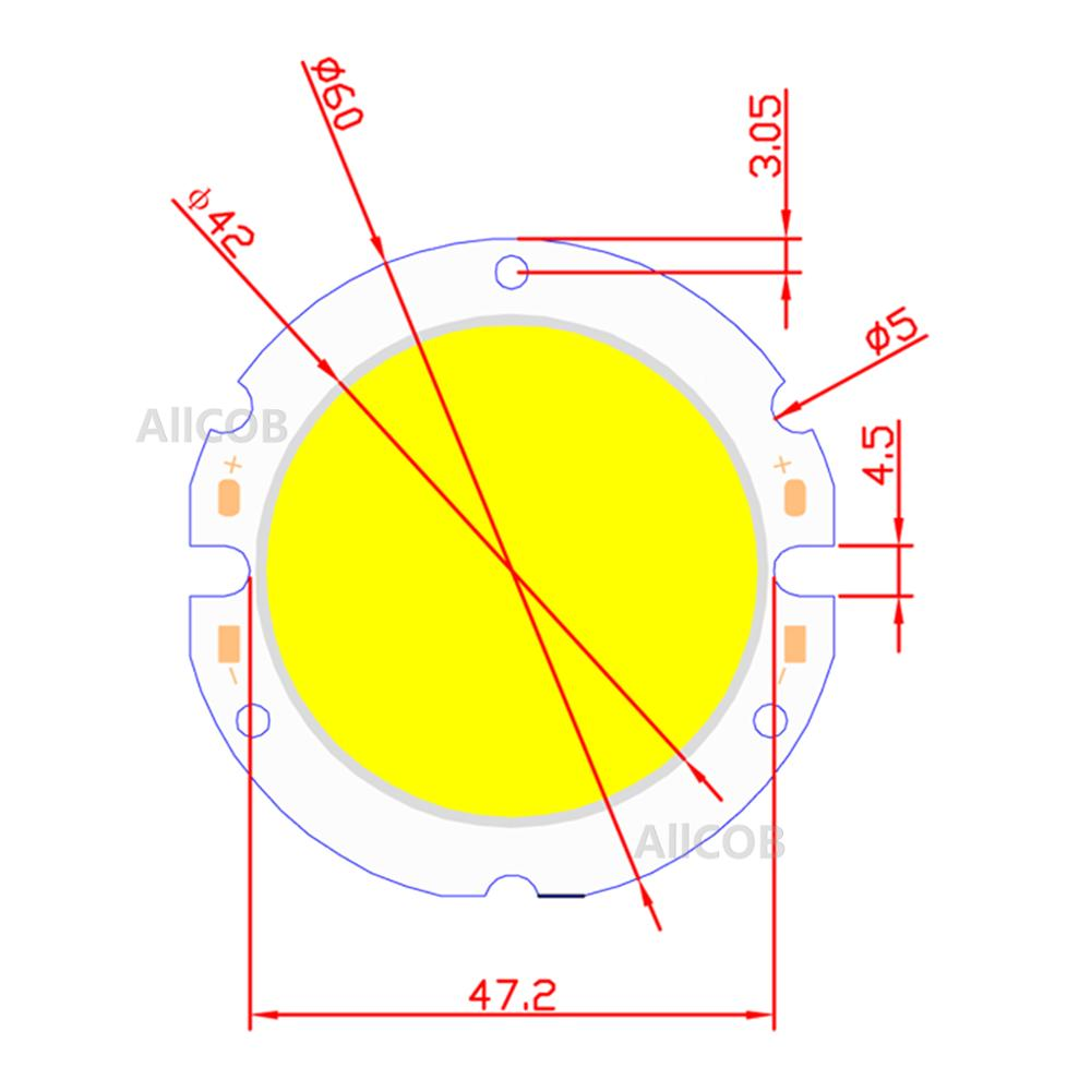 [ALLCOB] Manufactur 1pcs 5pcs 10pcs Power cob led 60mm round chip Light Source 20W 2000lm COB Warn Nature White for downlight