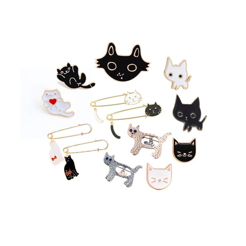16 Stil Nette Schwarz Weiß Katze Broschen Cartoon Tier Brosche Pins Revers Jacken Hut Zubehör Frauen Schmuck Geschenk Paar Abzeichen