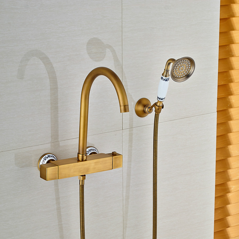Copper Dual Handle Thermostatic Faucet Bath Brass: Antique Brass Finished Shower Faucet Thermostatic Shower
