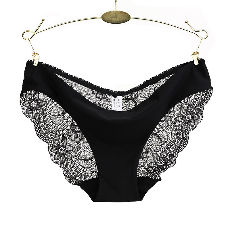 Ladies Underwear Woman   Panties   Sexy Lace Plus Size   Panty   Transparent Low-Rise Cotton Briefs Intimates New Hot Sale