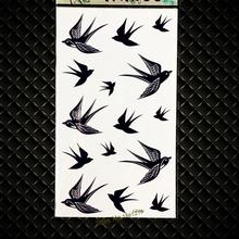 HOt Flying Swallow Temporary Tattoo Black Ink Waterproof Henna Tattoo Birds Girl Baby Kids Body Arm Flash Tattoo Sticker GGF561