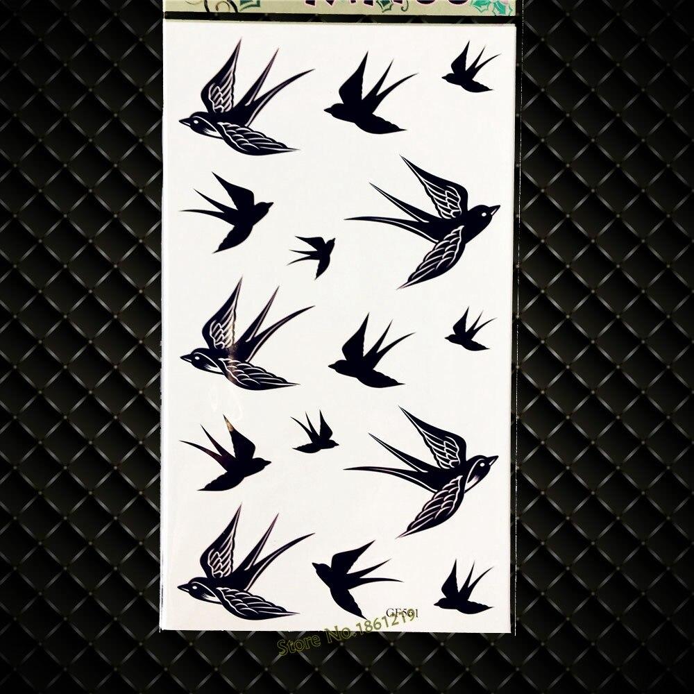 горячие полет ласточки временные татуировки черные чернила