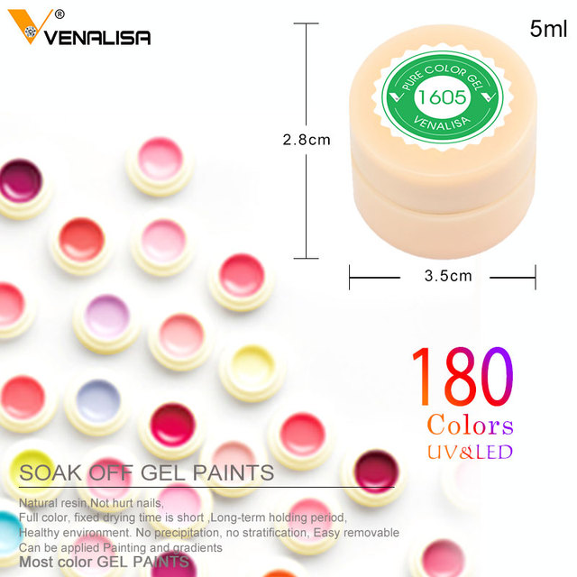 Venalisa 5ml white jar Pure Color nail Art gel Paint Gel Tips DIY Decoration CANNI Factory Price Painting LED&UV Gel paint 1