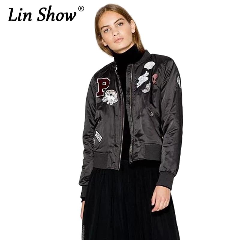 LINSHOW Cartoon Letter Black Embroidered Bomber Jacket
