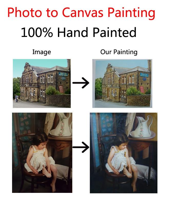 Dipinto a mano dipinti ad olio di arte Su Ordinazione photo su tela trasformare il vostro immagine alla pittura personalizzato d'arte della decorazione della parete Regalo speciale