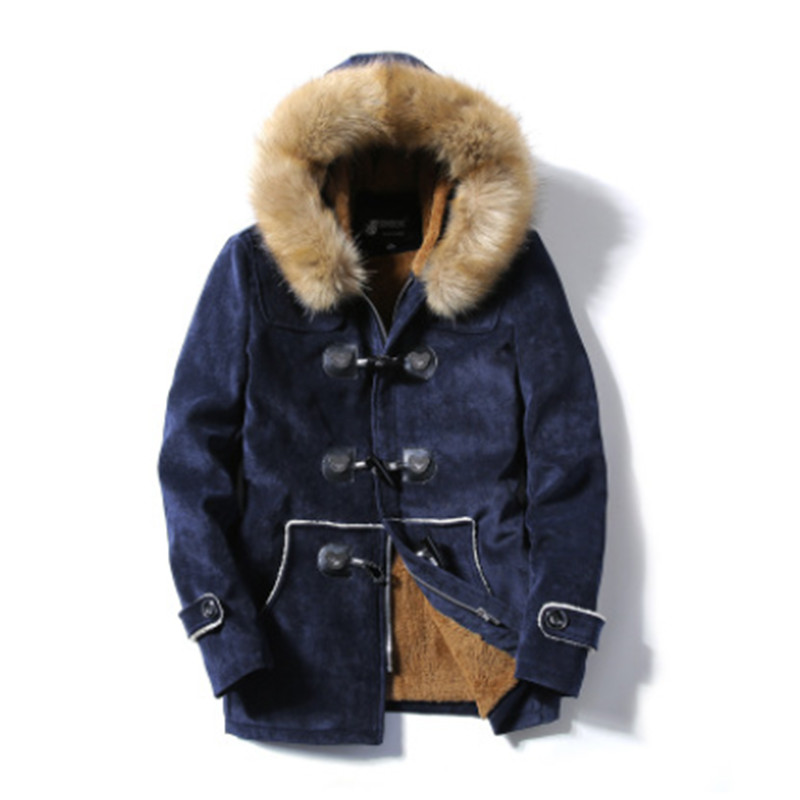 2017 Fashion Autumn and winter fur collar button buckskin coat male in the long slim thick warm young cotton coat 2017 winter new clothes to overcome the coat of women in the long reed rabbit hair fur fur coat fox raccoon fur collar