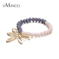 EManco Double Color Crystal Dragonfly Pendant Bracelet Gold Plated Animal Charms Bracelets For Women Symmetry Brazalete