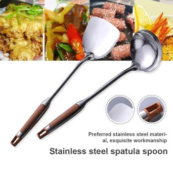 Stainless Steel Non-stick BBQ Grill Turner  Wok Spatula Spoon Kitchen Tools Cooking Utensil Cookware Cutlets Bacon Teppanyaki