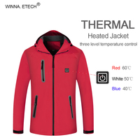 2018 New Winter Warm USB Infrared Heating Jacket Electric Thermal Outdoor Sport Clothing For Sports Skiing Hiking Climbing