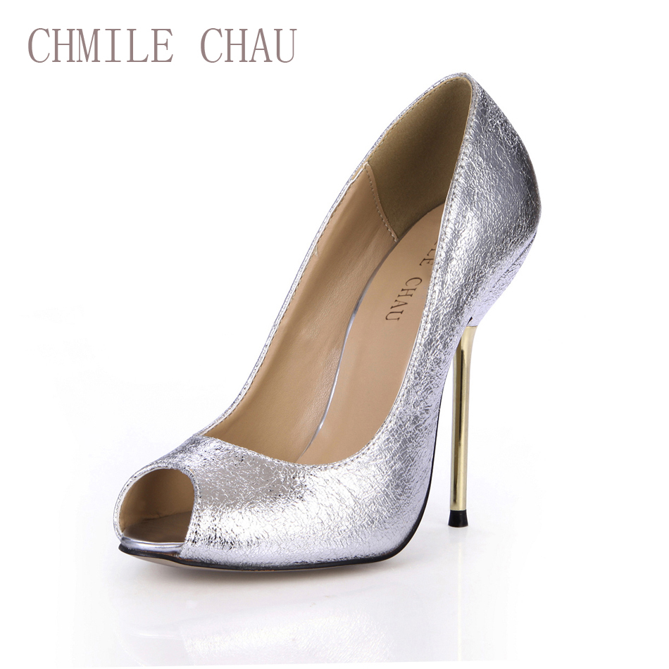CHMILE CHAU Burst Sexy Party Women Pumps Peep Toe Stiletto Iron High Heel Lady Shoes Zapatos Mujer 3845-a12 party suede and stiletto heel design peep toe shoes for women